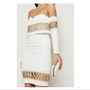 Soieblu Ivory Gold, Strapless Shimmer Sheath Dress